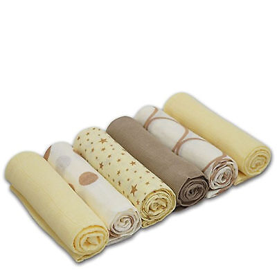 New 4Baby Cream & Beige Cotton Muslin Squares Baby Feeding Accessories (6 Pack)