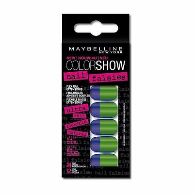 ** 2 X Maybelline Colorama Nail Falsies 08 Side Squared Blue & Green False Nails