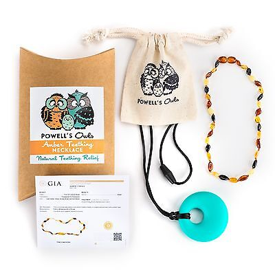 Baltic Amber Teething Necklace Babies Lab Tested Authentic Silicone Pendant Set