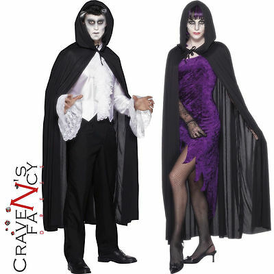 Hooded Black Hooded Vampire Cape Halloween Adult Fancy Dress Costume Accessory