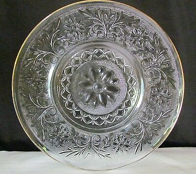 """Anchor Hocking Sandwich Glass 14"""" Cake Platter Daisy Serving Dish with Gold Trim"""