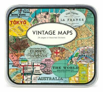 Cavallini Luxury Vintage Maps Style Stickers- Parcels / Presents / Scrapbooking
