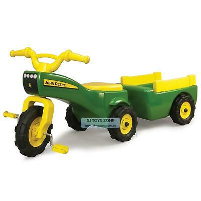 John Deere Pedal Tractor & Pull Wagon Kids Children Toy Ride On Tricycle Free Sh