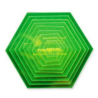 """Hexagon Template Set (Small) 1"""" to 5"""" in 1/2 """" increments. 9 Pieces"""