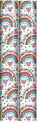 6m Children's Gift Wrapping Paper Roll - 2x3m -Girl's Pink Fairy Princess Castle