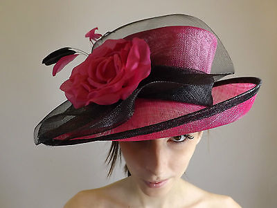 New Ladies Royal Wedding Events Hat English Rose Sinamay Mother Of The Bride