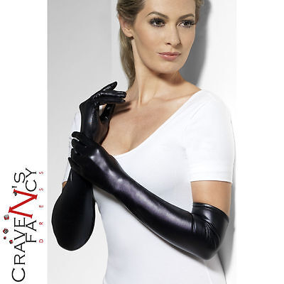 Black Long Wet Look Glamour Gloves One Size Ladies Womens Halloween Fancy Dress