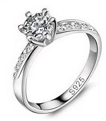 1.00ct Diamond 925 Sterling Silver Engagement Wedding Ring + FREE SHIPPING