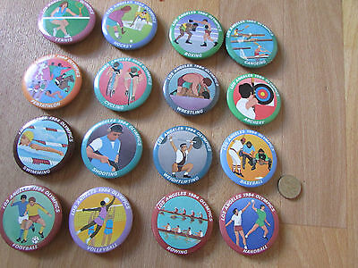 Los ANGELES Olympics 1984 Collection of  16  Original Different Tin Badges