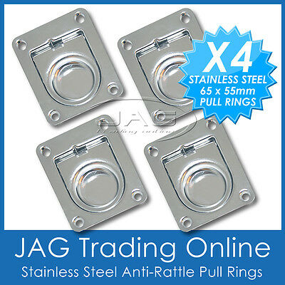 4 x STAINLESS STEEL ANTI-RATTLE FLUSH PULL RINGS - Boat Deck Cabin Hatch 65x55mm