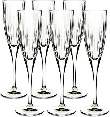 Royal Doulton Crystal Linear 6 Flute Champagne Glasses (Boxed) - New