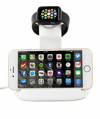 Dual-Function Apple iWatch and Apple iPhone Charging Dock/Stand in Bright White