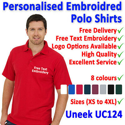 Personalised Embroidered Polo Shirts, Customised Workwear, Free Text Uneek UC124