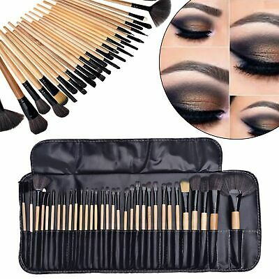 32 Pcs Professional Cosmetic Make Up Wooden Soft Bristle Brush Set + Carry Pouch