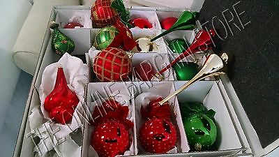 Frontgate Grandinroad Emerald Christmas Holiday Glass Glitter Ornaments Set 20