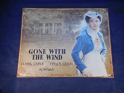gone with the wind tin poster sign Scarlett in title role, Tara reproduction