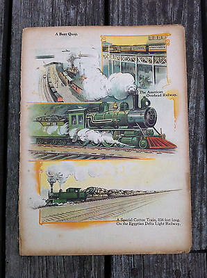 Antique color litho prints illustrated book pages railroad locomotives train