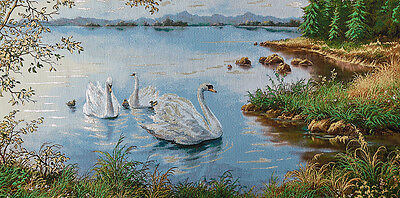 "46"" Top Quality Wall Art Needlepoint Woven Painting Tapestry: Swan Lakescape"