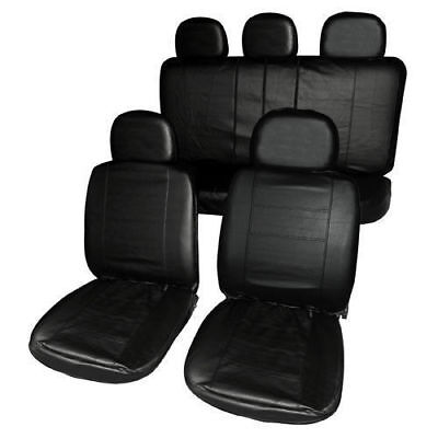 Black Heavy Duty Faux  Leather Look Car Taxi Seat Covers Set Air Bag Friendly