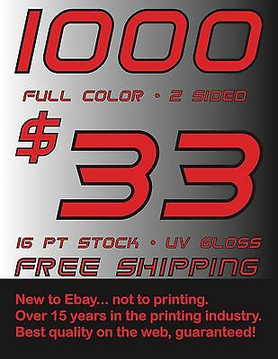 1000 Full Color Business Cards Uv Gloss Coating - Free Shipping