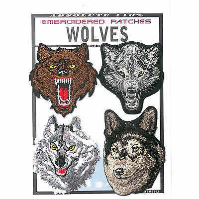 WOLVES Set of 4 Wolf Patches - Iron-On Patch Super Set #093 - FREE POSTAGE!