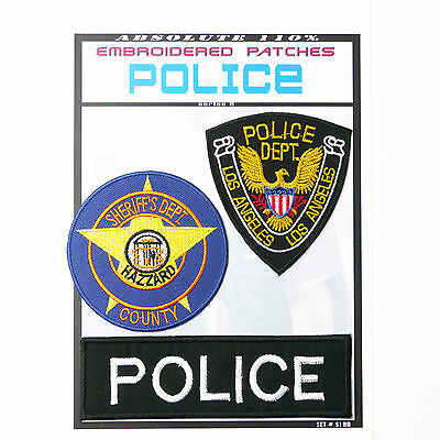 """US COPS"" POLICE Set of 3 Patches - Iron-On Patch Super Set #100 - FREE POSTAGE!"