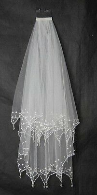 Bridal Wedding White Veil 2 Layer Handmade Elbow Beads And Pearls With Comb