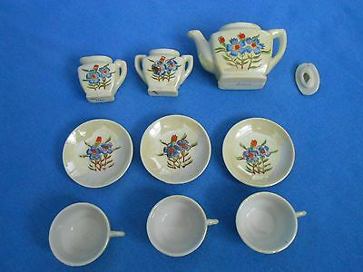 Vtg Hand-Painted JAPANESE Miniature Tea Set Lotus Red Blue Flowers 3 Settings