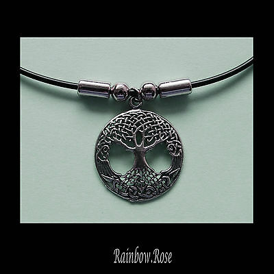 Choker #377 Pewter TREE OF LIFE (25mm wide) Rubber Silicon Cord Necklace unisex