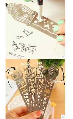 Stainless Steel Metal 3in1 Bookmark Stencil Ruler *Balloon*
