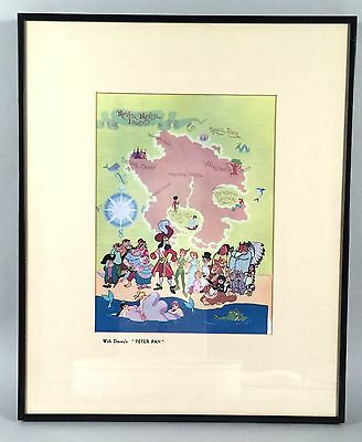 Vintage Disney Peter Pan Art Print - Never Never Land Map and Characters - COA