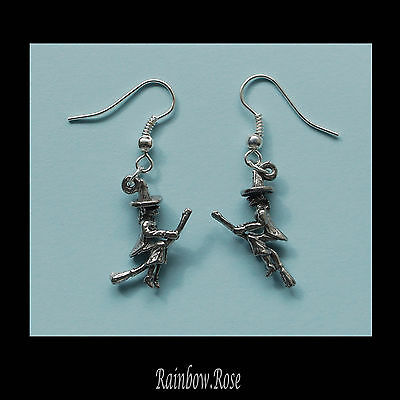 Pewter Earrings #228 Witch on Broom 3D - small 20mm