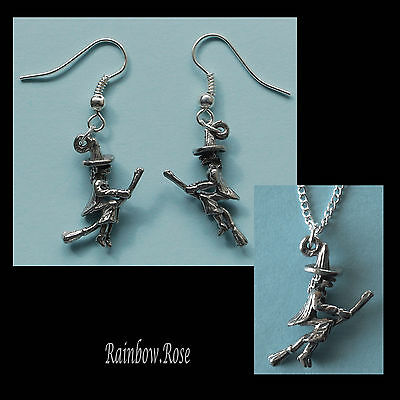 Pewter Earrings & Necklace #228 WITCH ON BROOM - Silver Tone Chain