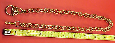 Man's Large Heavy Brass Unusual Twisted Rope Link Pocket Watch Chain 19in