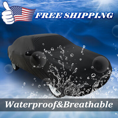 Black Breathable Waterproof Car Cover w Mirror Pocket 3L