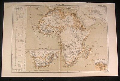 Africa Mts. of Donga c.1875 fine old vintage antique map
