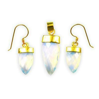 18K Gold Overlay Earring & Pendant Set With Crystal Quartz