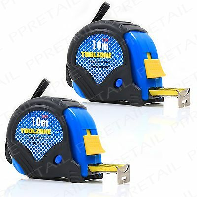 2x 10M Tape Measure EXTRA LARGE AutoLock Hook Professional Builders Toolbox DIY