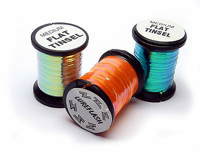 3x Spools of Assorted Colours of Flat Pearl Tinsel for Fly Tying & Fly Dressing