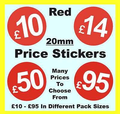 20mm Red Shop Price Point Stickers / Sticky / Swing Tag Labels £10 to £95 POS