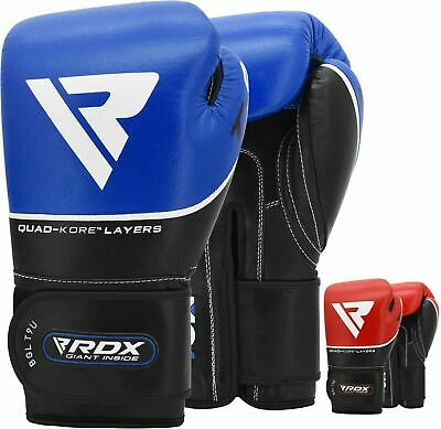 RDX Cow Hide Leather Boxing Gloves Fight MMA Sparring Kickboxing Training T9 Red