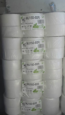 Best Value 150 metre Mini Jumbo White Soft Toilet Paper Tissue Roll Rolls 2 ply