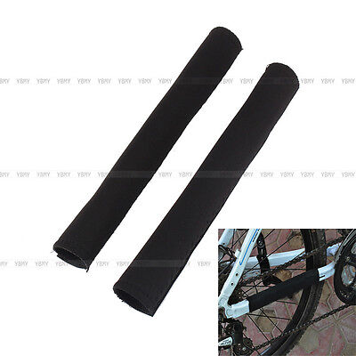 2 Pcs Black Bicycle Cycling  Care Chain Stay Posted Frame Protector Guard Cover