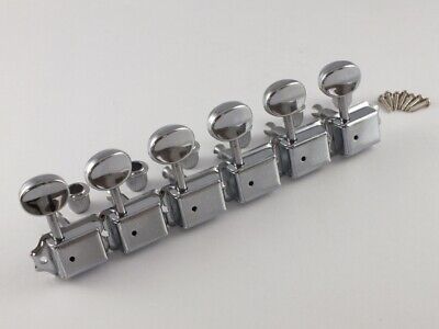 CHROME VINTAGE MACHINE HEADS Small OVAL TUNER BUTTONS to fit 8mm or 10mm holes