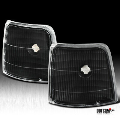 1992-1996 Ford F150/250/350 Bronco Black Clear Corner Lamps Turn Signal Lights