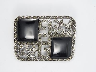 """VINTAGE FRENCH ART DECO SIGNED TH STERLING w/ ONYX & MARCASITE PIN BROOCH ~ 1.5"""""""