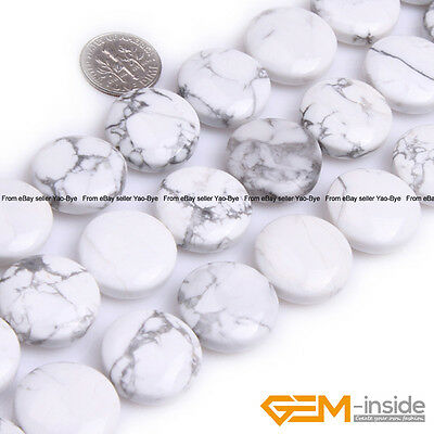 20mm White Howlite Turquoise Gemstone Coin Flat Beads For Jewelry Making 15""