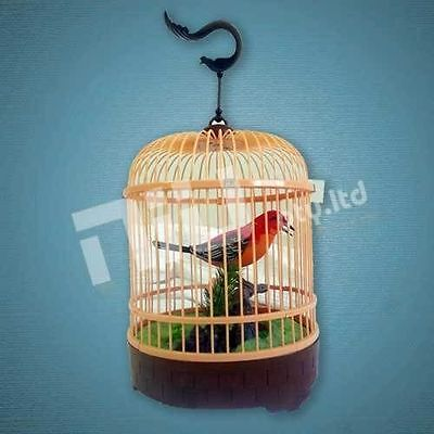 Electronic Bird In Cage Lovely Sound Activated Heartful Bird XMAS Gift kid toy