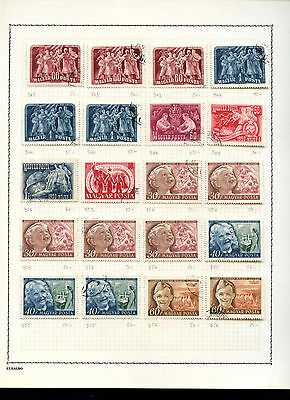 Hungary 1950 Album Page Of Stamps #V3595