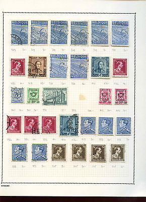 Belgium 1948-1956 Album Page Of Stamps #V3666